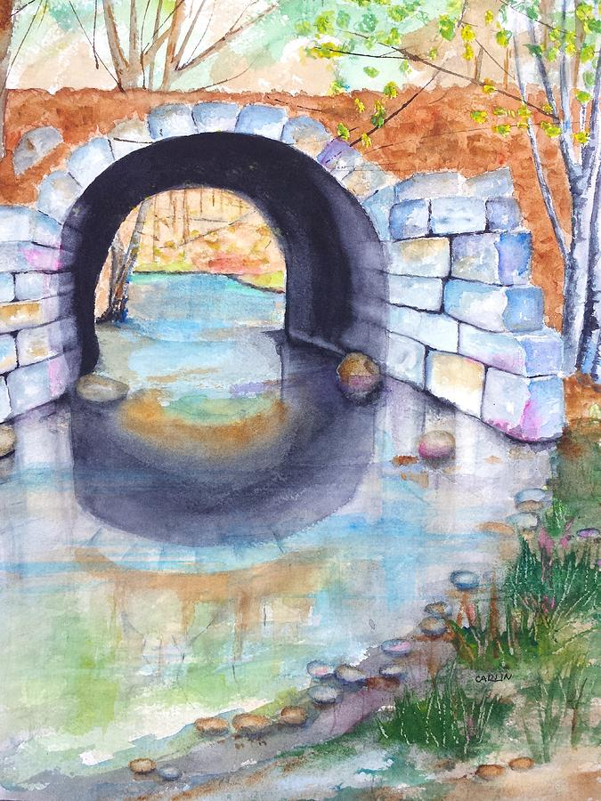 Stone Arch Bridge Painting - Stone Arch Bridge Dunstable by Carlin Blahnik