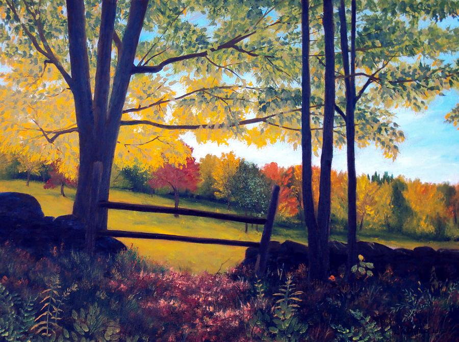 Maine Painting - Stone Fence by Laura Tasheiko