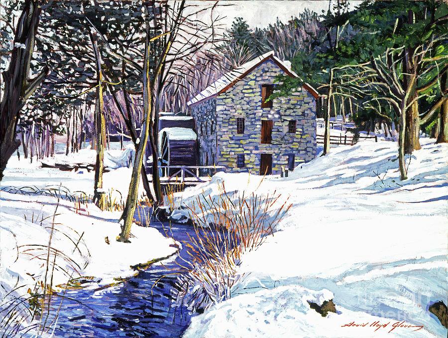 Stream Painting - Stone Mill by David Lloyd Glover