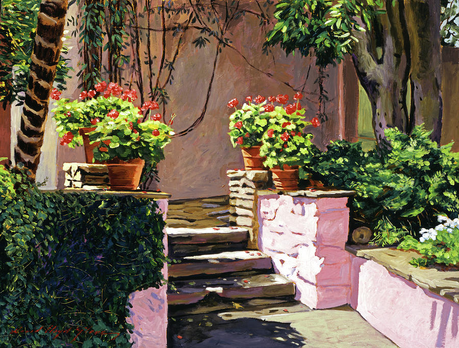 Gardens Painting - Stone Patio California by David Lloyd Glover