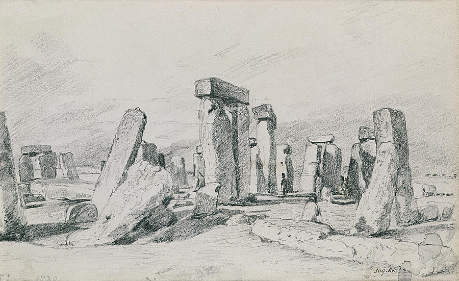 Salisbury Plain; Monument; Tourism; Druid; Summer Solstice Drawing - Stonehenge Wiltshire by John Constable