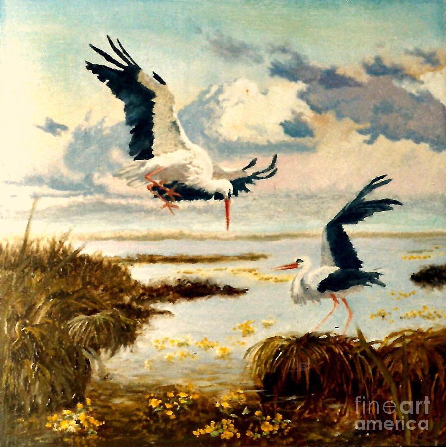 Henryk Painting - Storks II by Henryk Gorecki