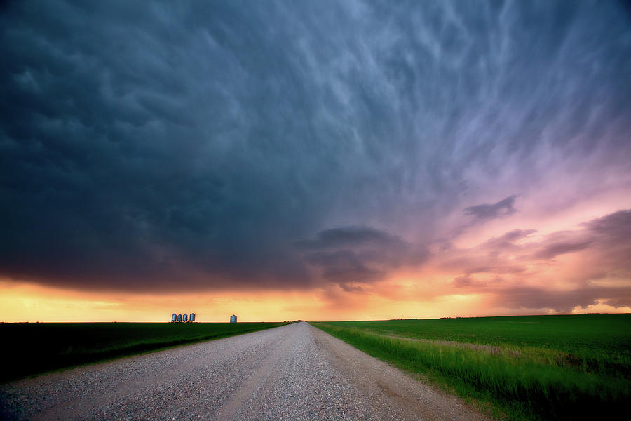 Grain Digital Art - Storm Clouds Over Saskatchewan Country Road by Mark Duffy