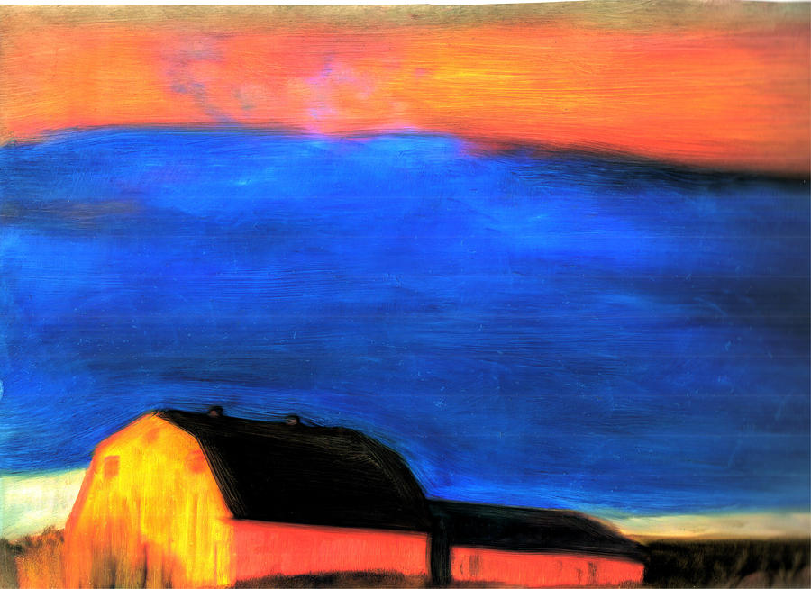 Maine Storm Barns Painting - storm over Aroostook Maine by FeatherStone Studio Julie A Miller