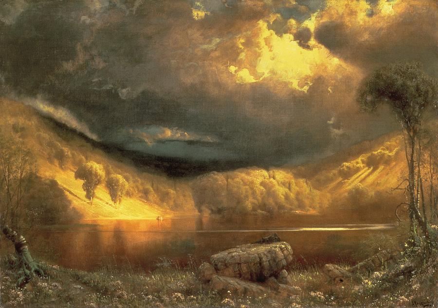 American Landscape; Clouds; Evening; Sunlight; Sunset; California Painting - Stormy Skies Above Echo Lake White Mountains  by Fairman California