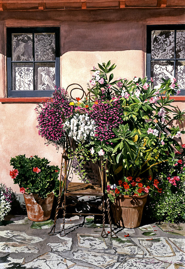 Garderns Painting - Storybook Cottage Carmel by David Lloyd Glover