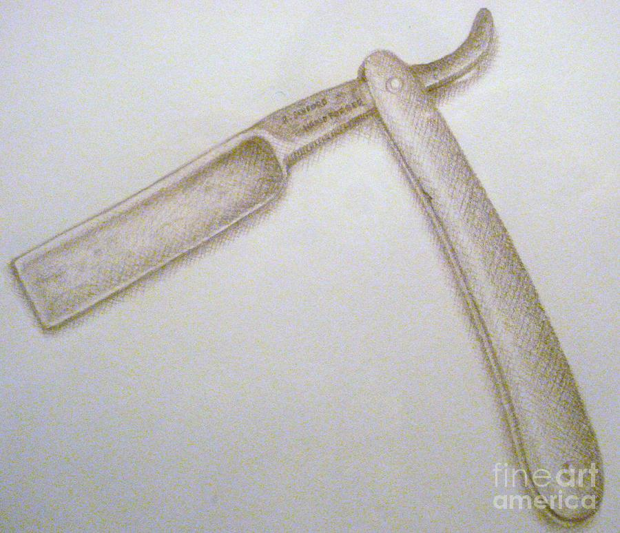 Straight Razor Drawing by Richard Sanford
