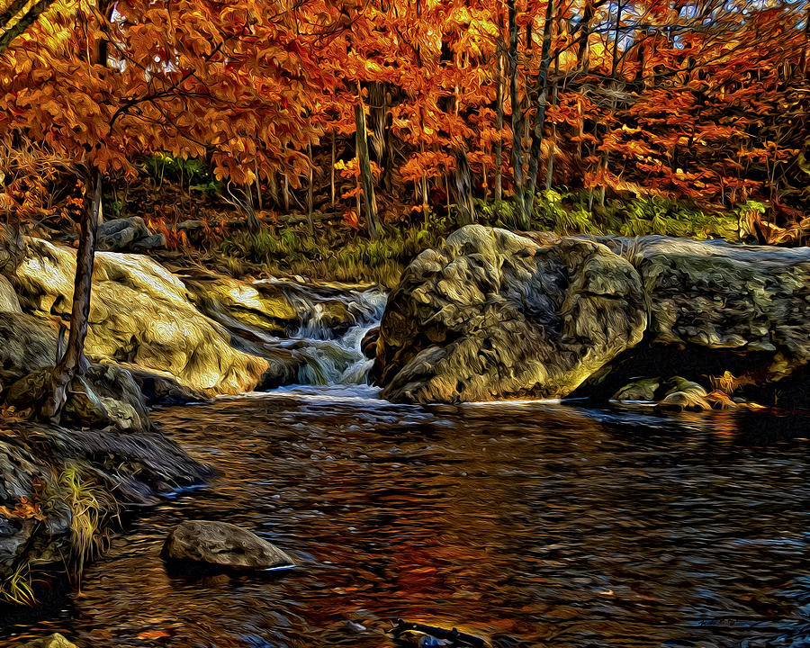 Stream In Autumn 57 In Oil Photograph