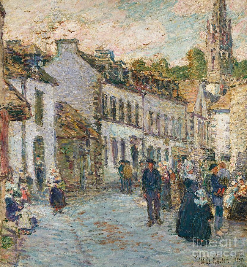 Street In Pont Aven - Evening Painting - Street In Pont Aven by Childe Hassam