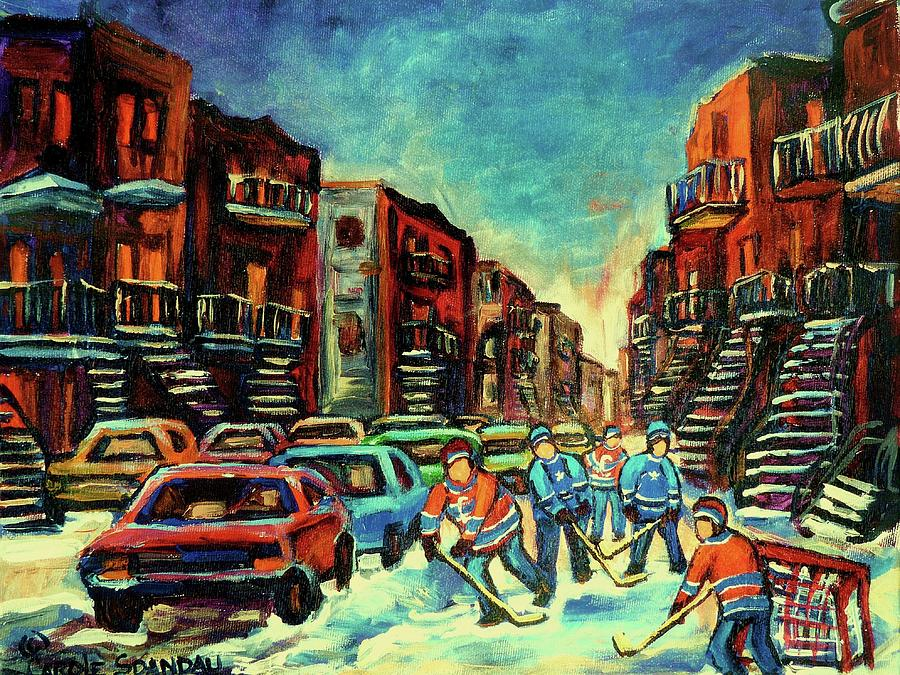 Montreal Painting - Streetscenes Of Montreal Hockey Paintings By Montreal Cityscene Specialist Carole Spandau by Carole Spandau