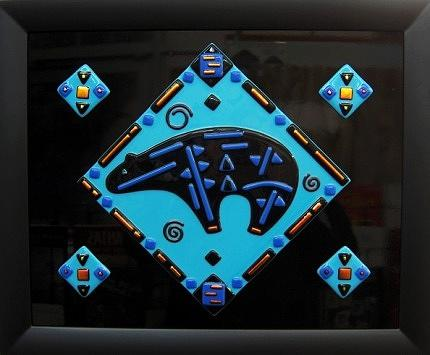 Fused Glass Glass Art - Strength Of The Bear by Andrew Tillinghast