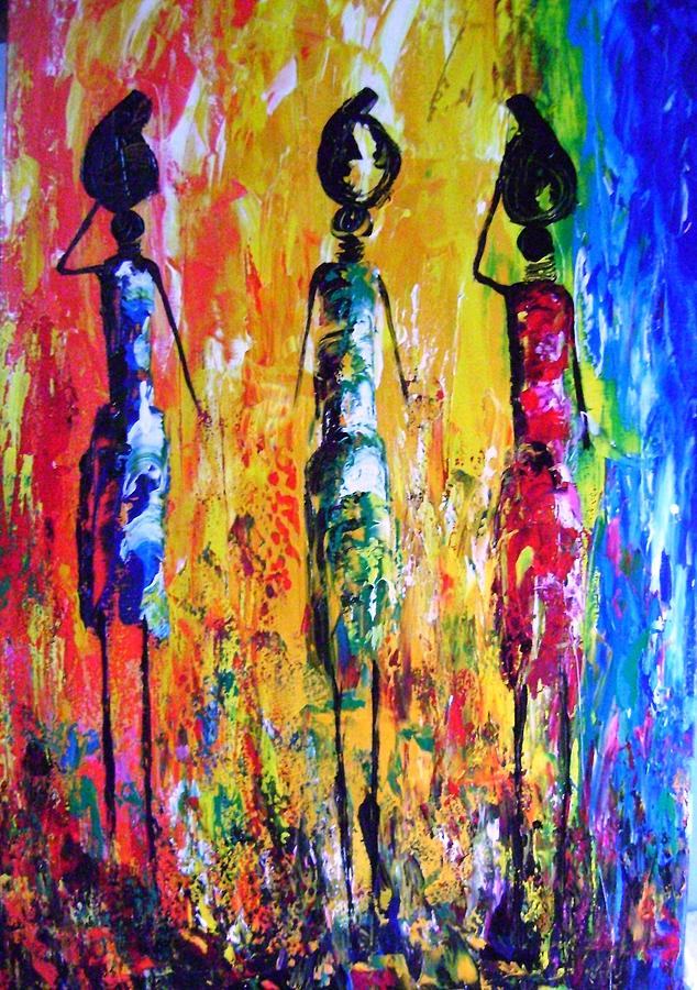 Cultural Painting - Strong Necks by Joseph Muchina
