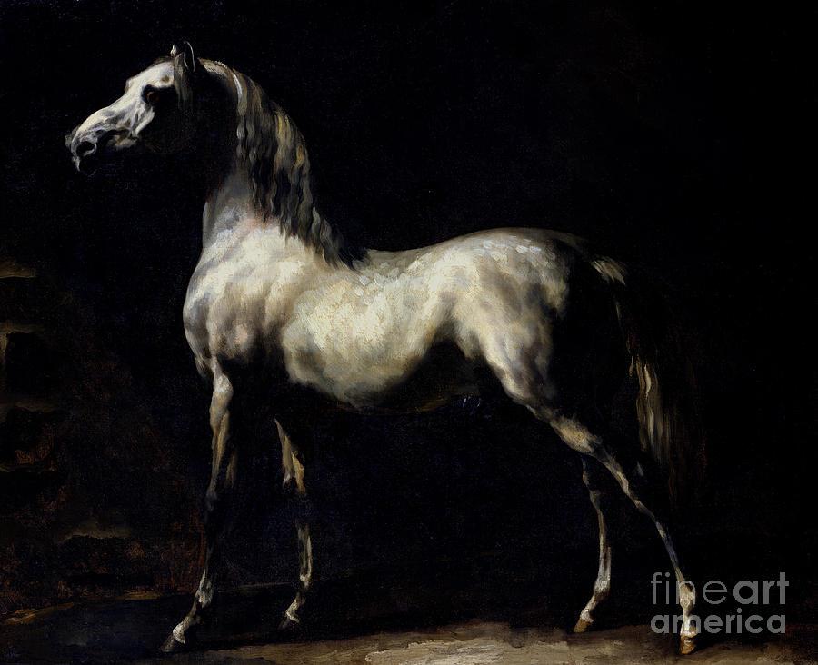 Etude De Cheval Blanc Ou Gris Pommele; Proud; Shadows; Horse Painting - Study Of A Dapple Grey by Theodore Gericault