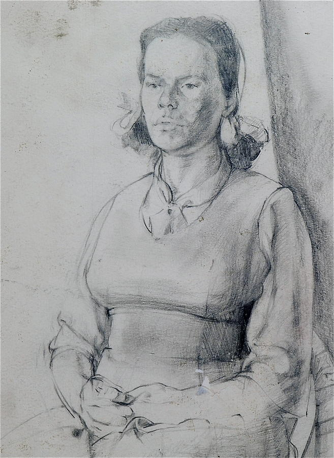 Study Drawing - Study Of A Seated Girl. by Harry Robertson