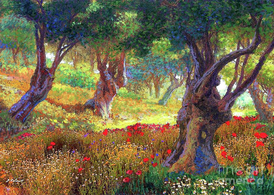 Tranquil Grove Of Poppies And Olive Trees Painting