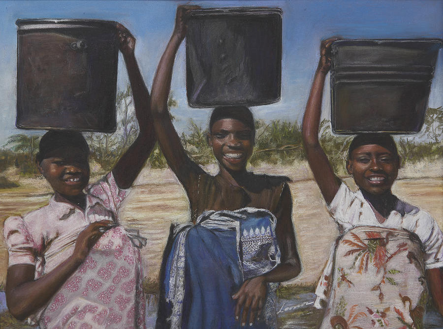 Portrait Pastel - Sudanese Women Coming From The Borehole by Leonor Thornton