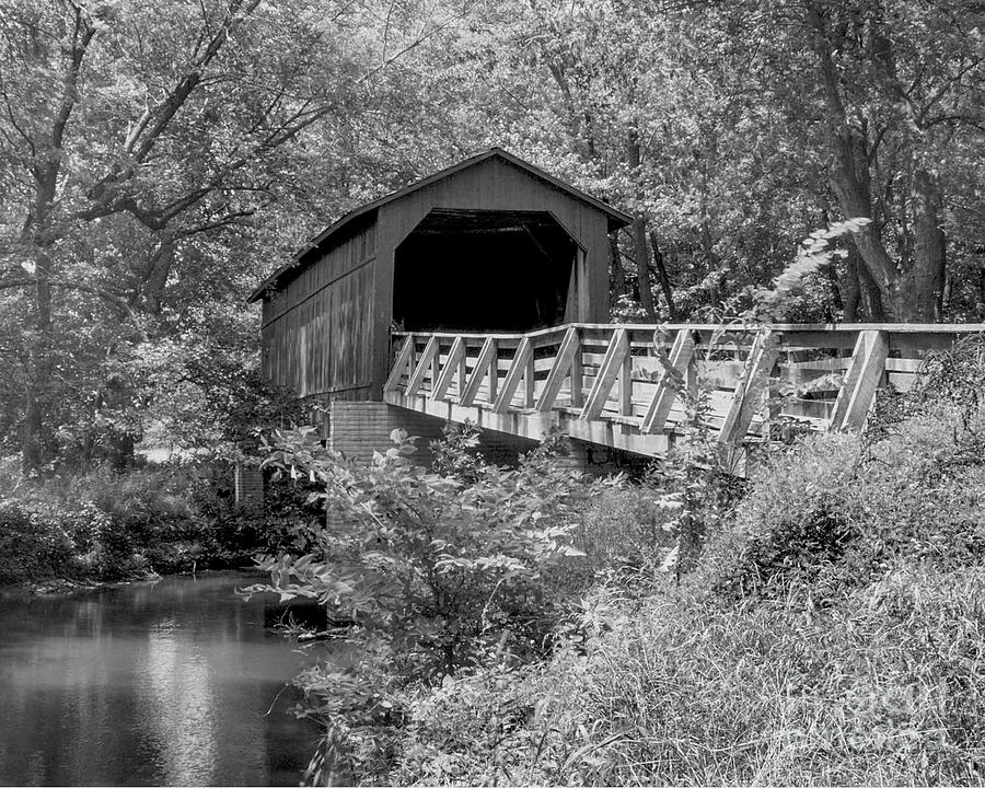 Sugar Creek Bridge Chatham Illinois-bandw Photograph