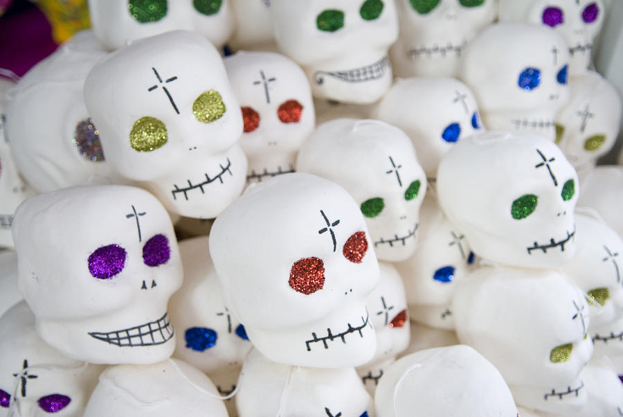 Color Image Photograph - Sugar Skulls For Sale At The Day by Krista Rossow