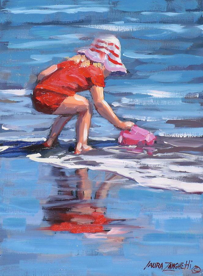Beach Scene Painting - Summer Fun by Laura Lee Zanghetti