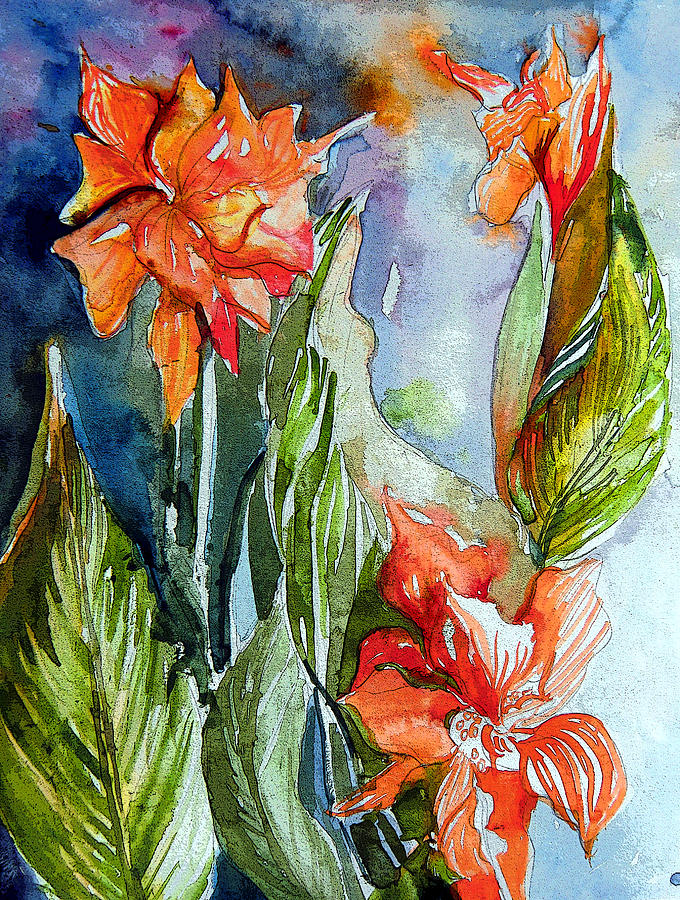 Gladiolas Painting - Summer Glads by Mindy Newman
