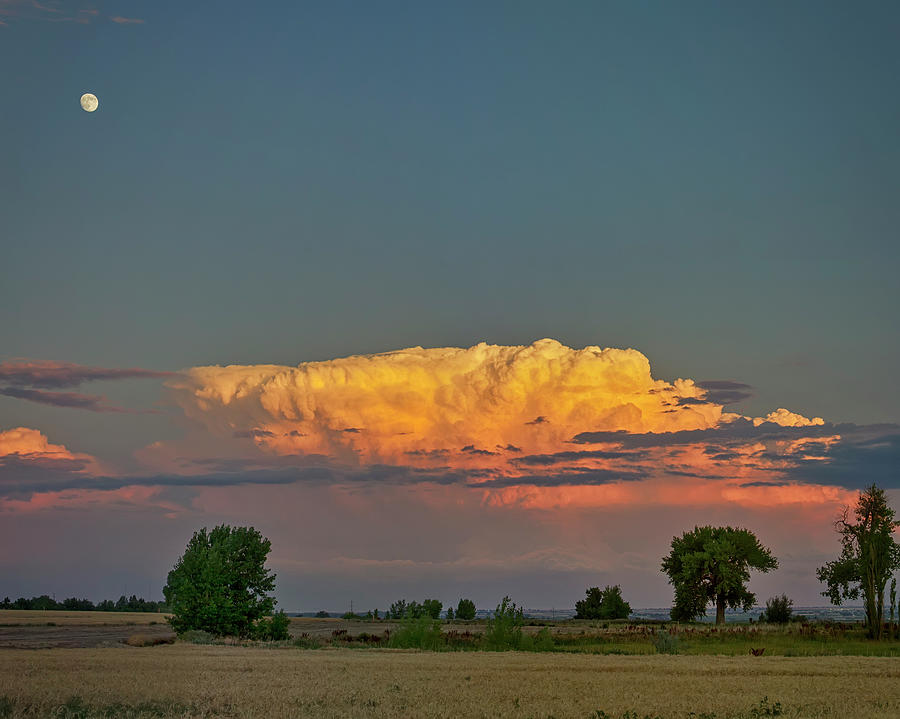 Summer Night Storms Brewing And Moon Above Photograph
