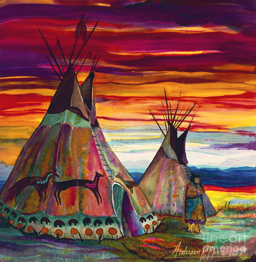Tipee Painting - Summer On The Plains by Anderson R Moore