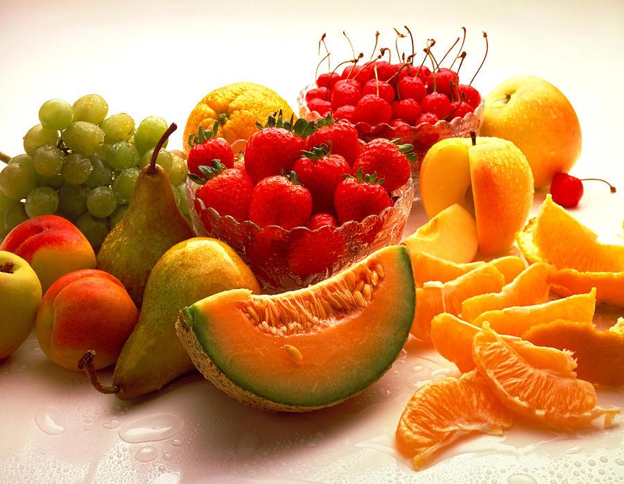 Summertime Fruit On White Photograph