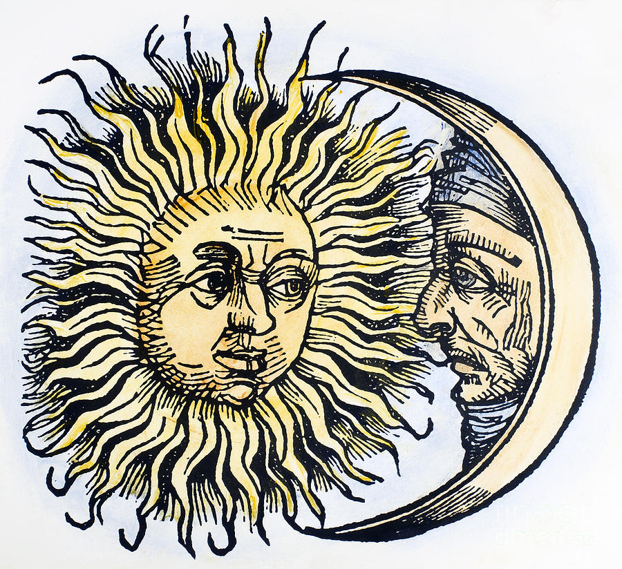 1493 Photograph - Sun And Moon, 1493 by Granger