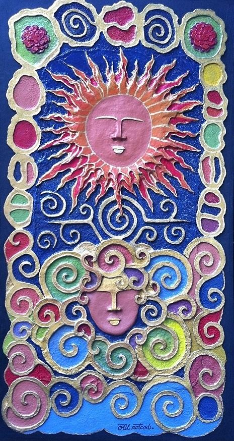 Handmade Papier Mache Artworks Mixed Media - Sun And Wind 2 by Otil Rotcod