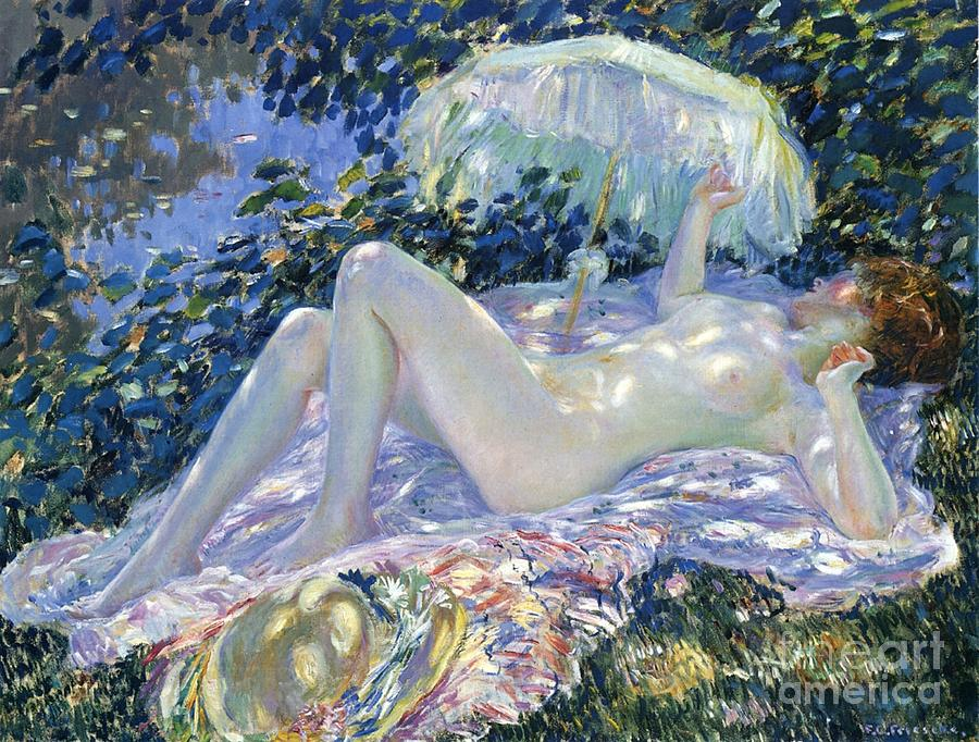 Sunbathing Painting - Sunbathing by Frederick Carl Frieseke