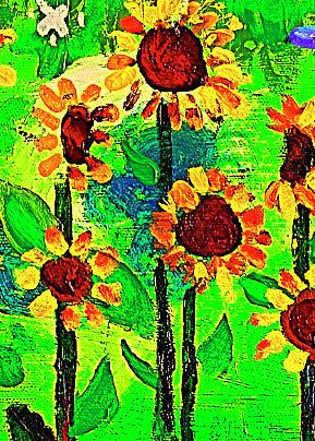 Sunflower Painting - Sunflower Closeup by Angela Annas