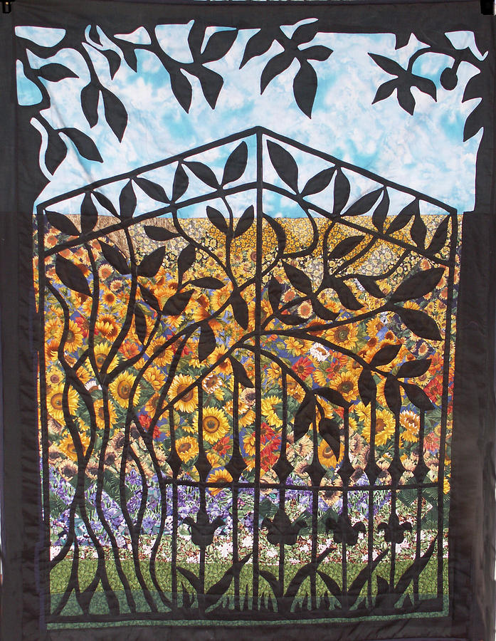 Sunflowers Blooming Tapestry - Textile - Sunflower Garden Gate by Sarah Hornsby