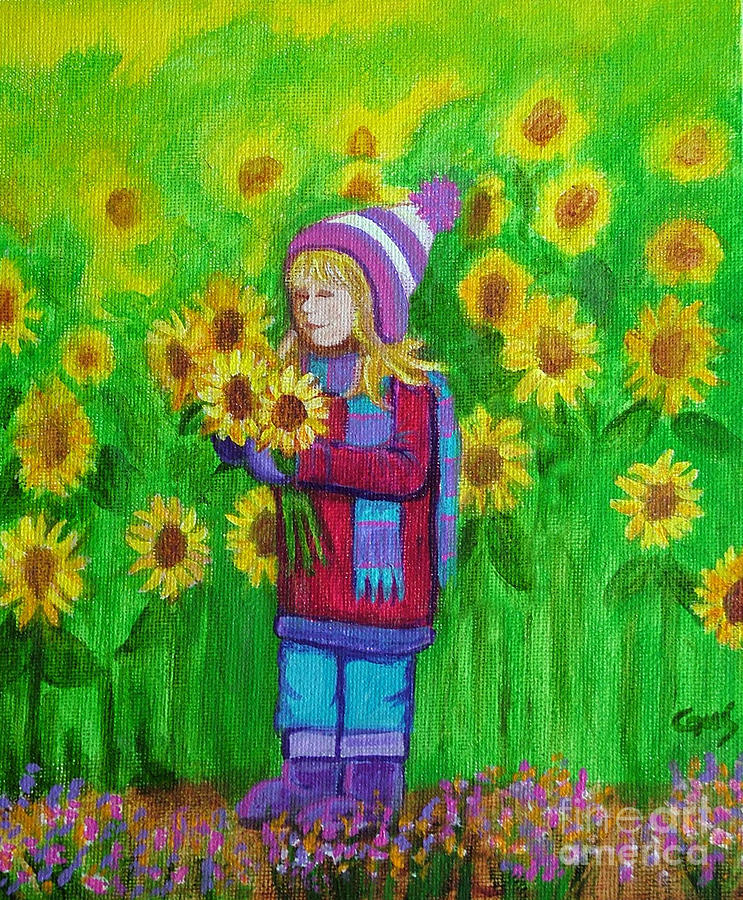 Sunflower Girl Painting Painting - Sunflower Girl by Nick Gustafson