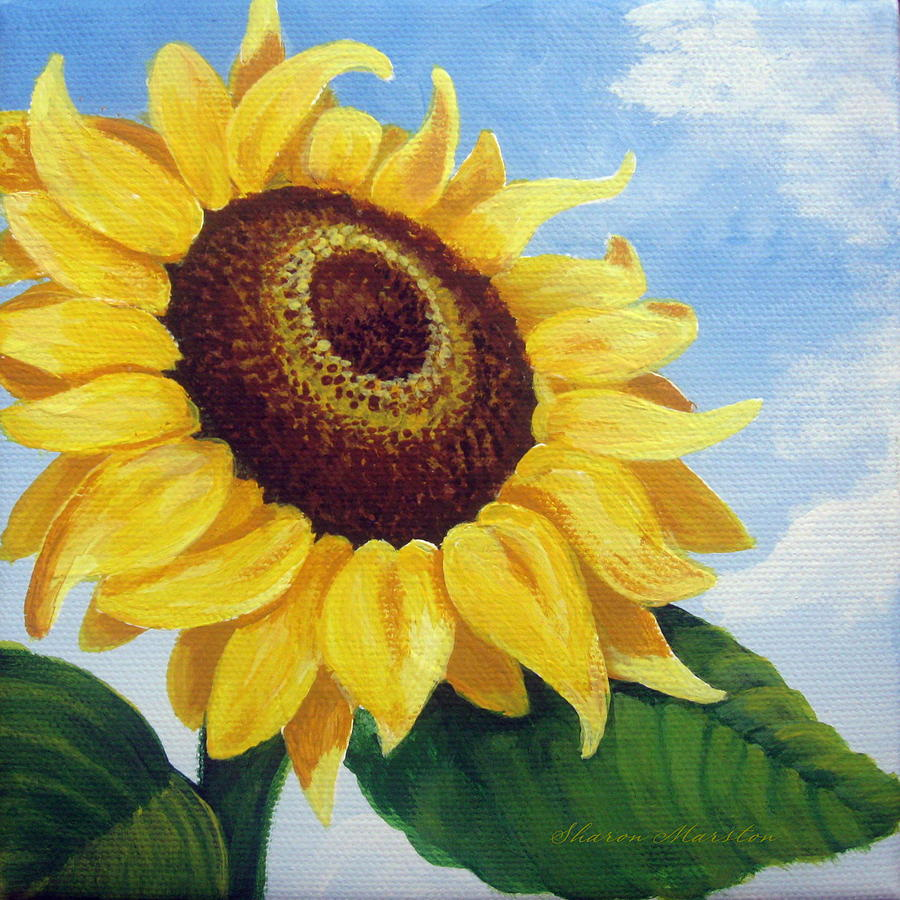 Sunflower moment painting by sharon marcella marston for How to paint sunflowers in acrylic