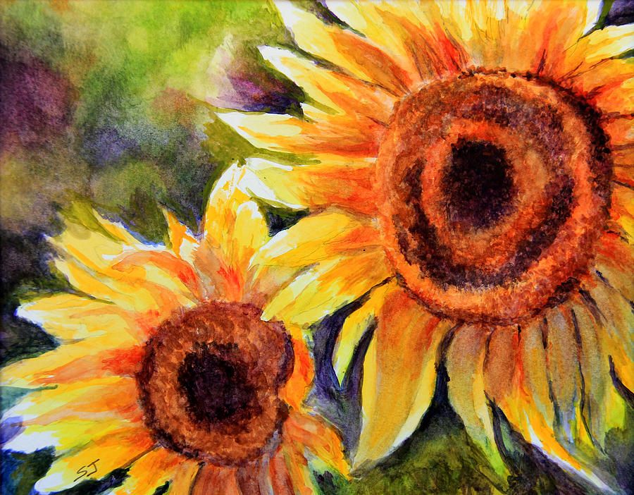 Sunflower Painting Painting - Sunflowers 2 by Susan Jenkins