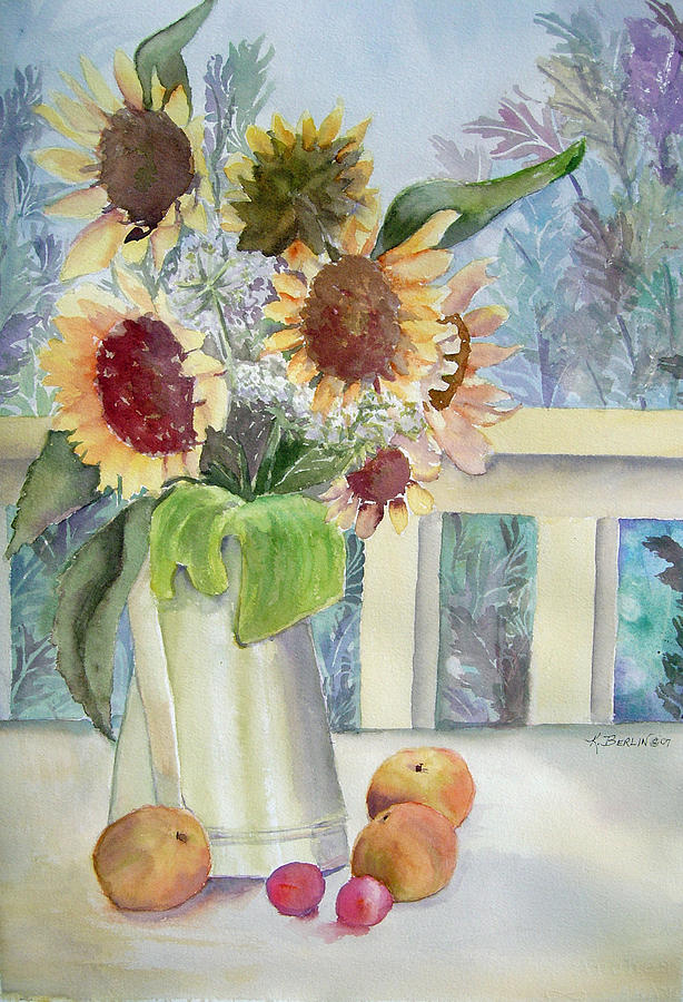 Flower Painting - Sunflowers And Peaches by Katherine  Berlin