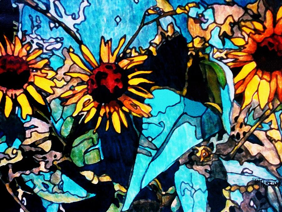 Sunflowers Painting - Sunflowers Blue by Tom Herrin