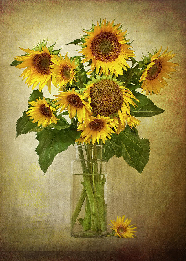 Vertical Photograph - Sunflowers In Vase by © Leslie Nicole Photographic Art