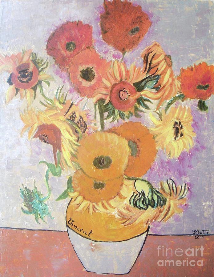 Sunflowers-original Pallet Knife Painting On Wood Panel Painting