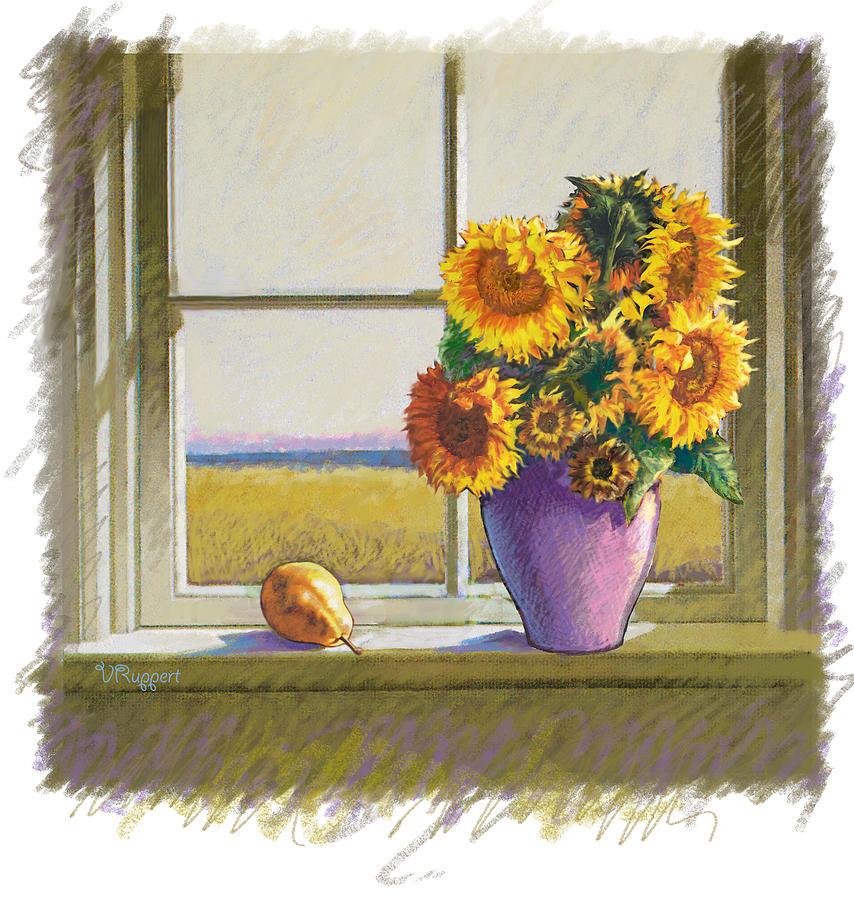 Still Life Pastel - Sunflowers by Valer Ian