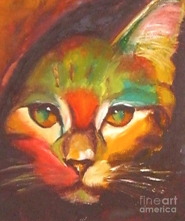 Cat Painting - Sunkist by Susan A Becker