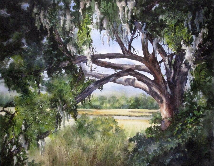 Marsh Painting - Sunlit Marsh by Mary McCullah