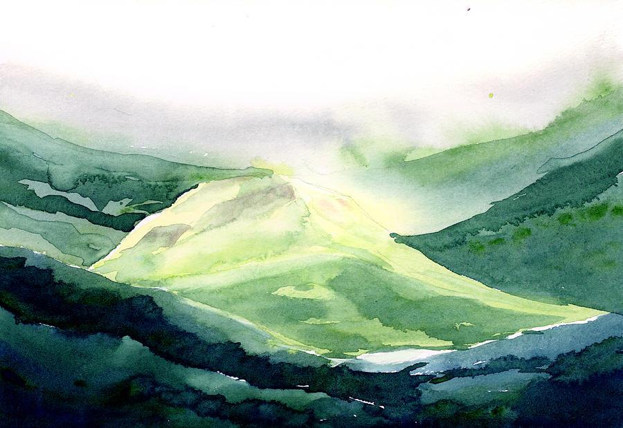 Landscape Painting - Sunlit Mountain by Anil Nene