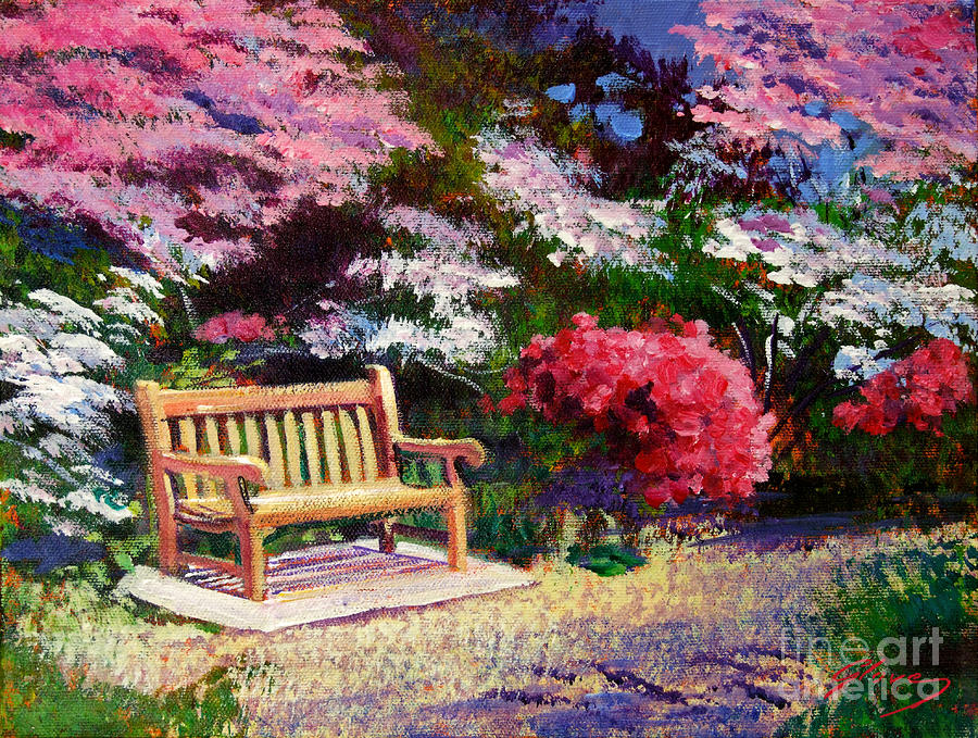 Gardens Painting - Sunny Bench Plein Aire by David Lloyd Glover