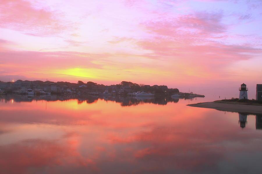 Seascape Colorful Photograph - Sunrise Hyannis Harbor by Roupen  Baker