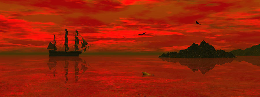 Bryce 3d Scifi Fantasy Windjammer sailing Ship Sailing Digital Art - Sunset Arrival by Claude McCoy