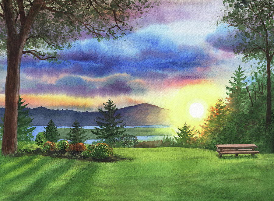 Sunset At Columbia River State Of Washington Painting