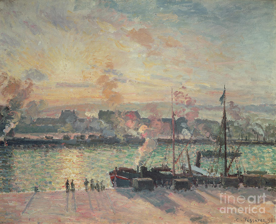 Sunset Painting - Sunset At Rouen by Camille Pissarro
