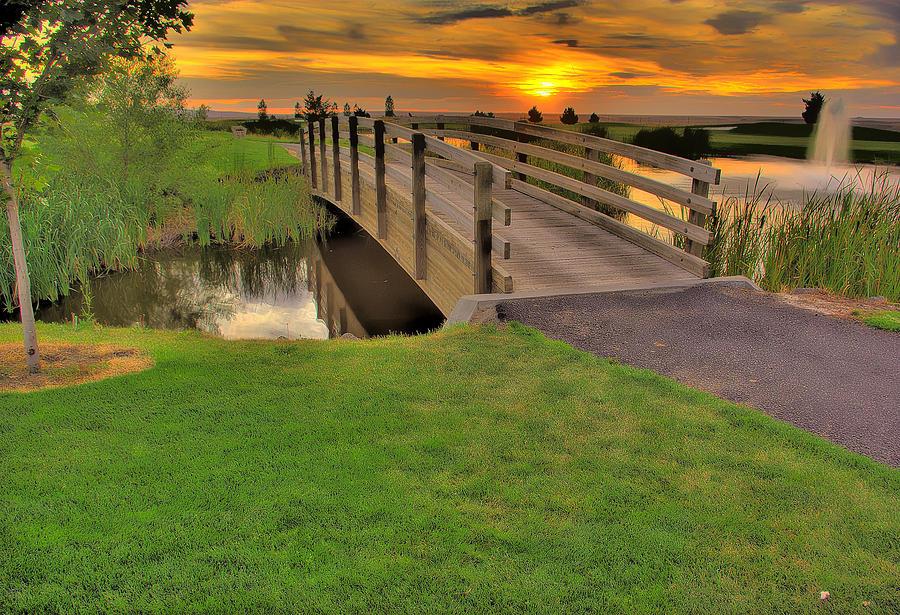 Landscape Photograph - Sunset Foot Bridge by Dale Stillman