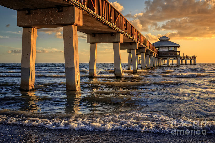 Sunset fort myers beach fishing pier photograph by edward for Fort myers beach fishing